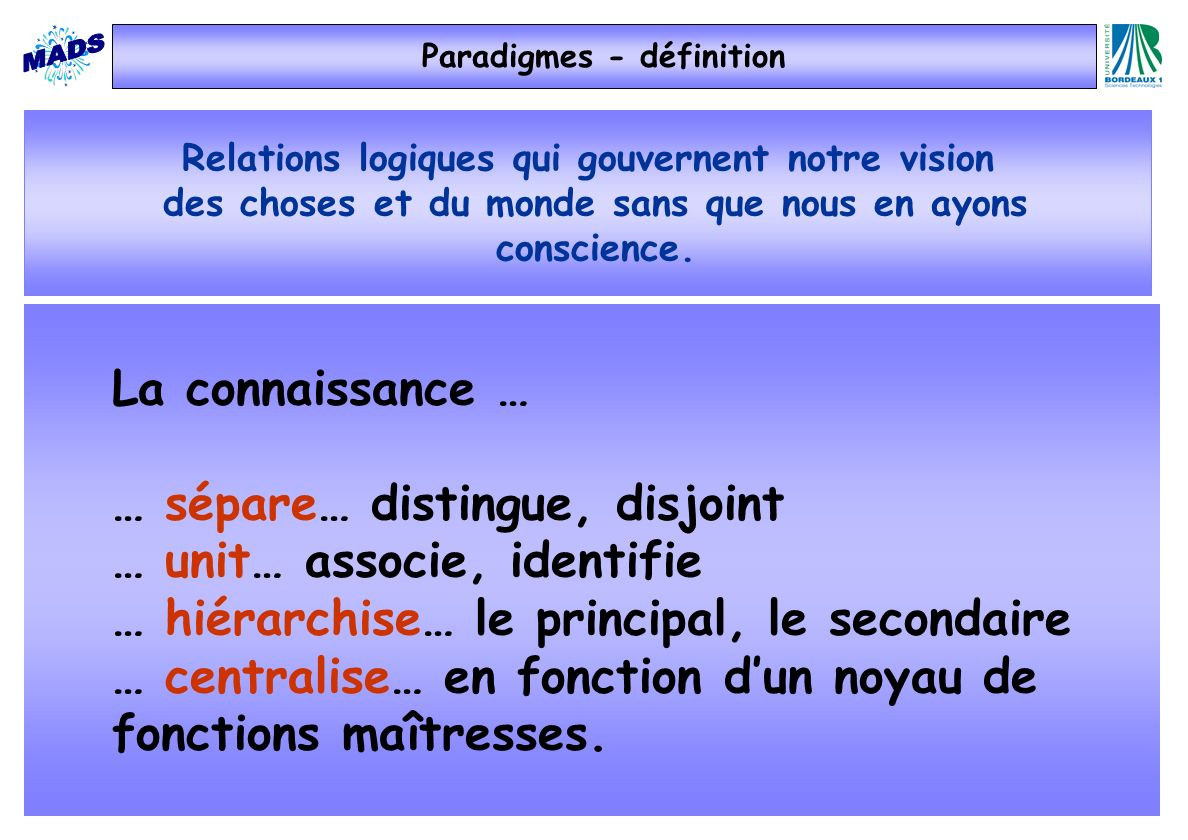 Relations logiques qui gouvernent notre vision des choses et du monde sans que nous en ayons conscience. Paradigmes - définition La connaissance … … s
