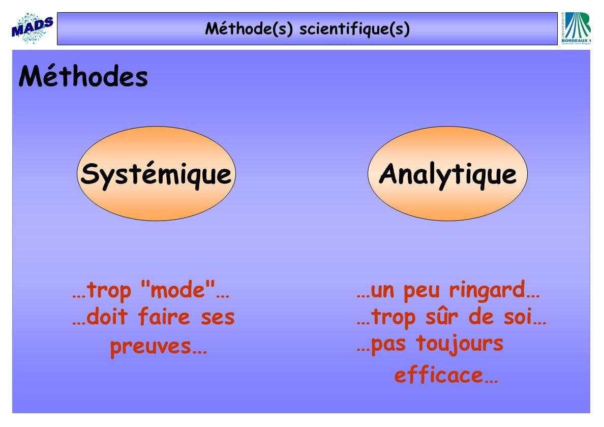 …un peu ringard… …trop sûr de soi… …pas toujours efficace… Méthodes AnalytiqueSystémique …trop mode … …doit faire ses preuves … Méthode(s) scientifique(s)