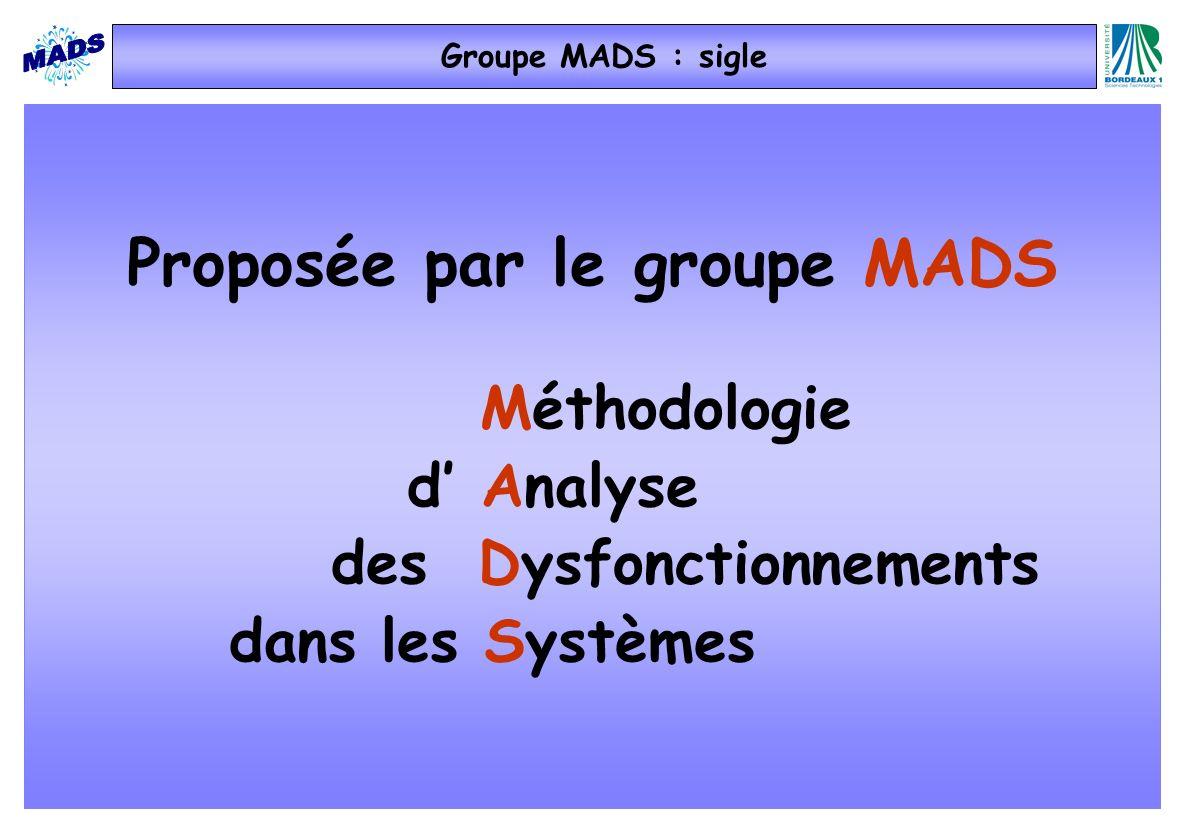Proposée par le groupe MADS Méthodologie d Analyse des Dysfonctionnements dans les Systèmes Groupe MADS : sigle