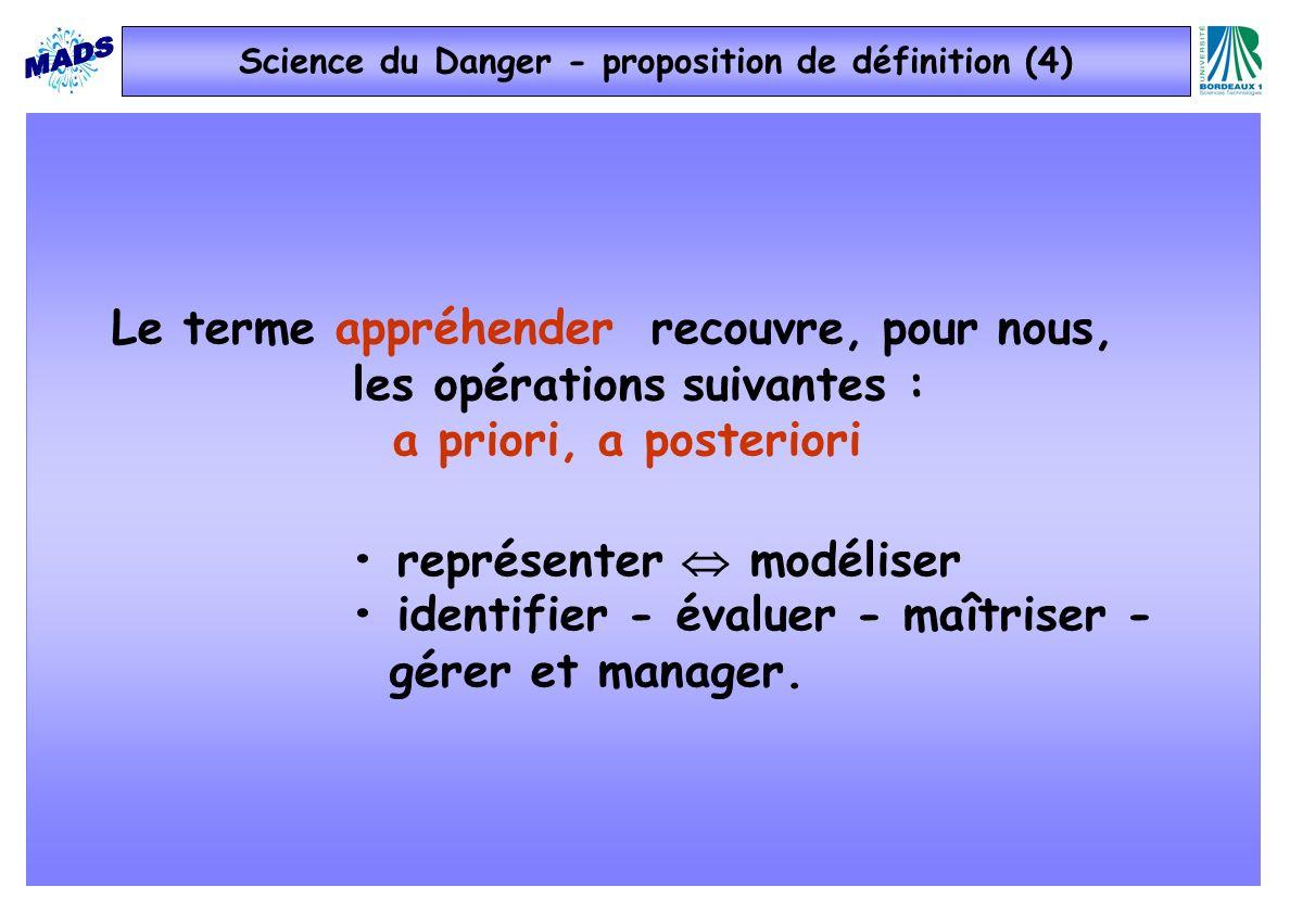Le terme appréhender recouvre, pour nous, les opérations suivantes : a priori, a posteriori représenter modéliser identifier - évaluer - maîtriser - gérer et manager.