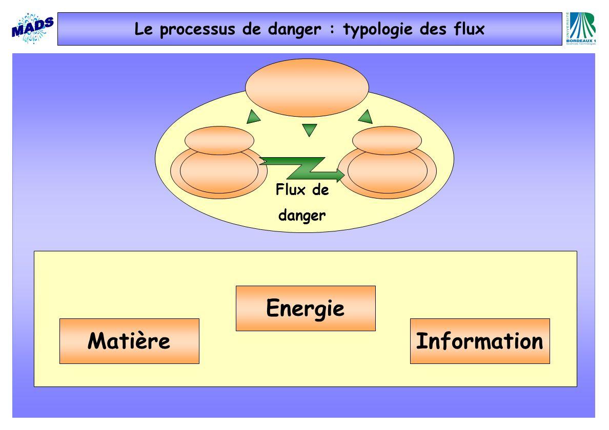 Flux de danger Le processus de danger : typologie des flux Matière Energie Information
