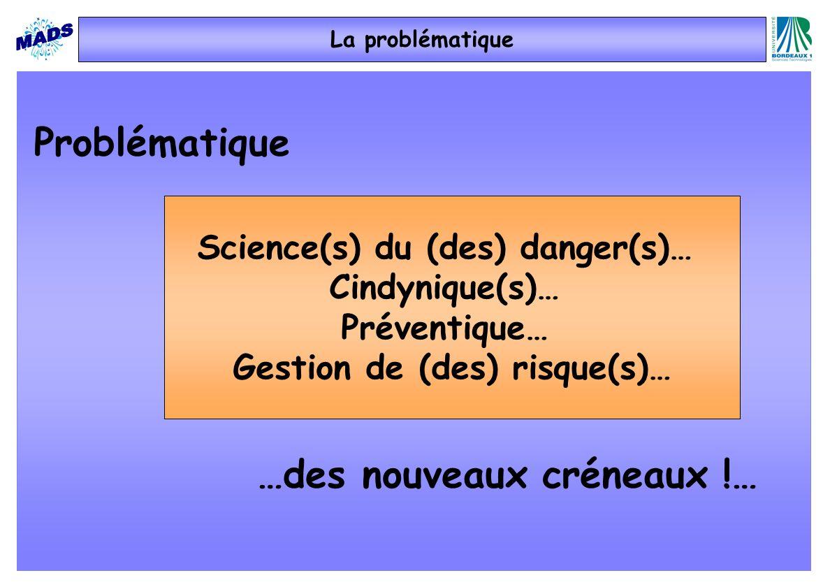 La problématique Problématique Science(s) du (des) danger(s)… Cindynique(s)… Préventique… Gestion de (des) risque(s)… …des nouveaux créneaux !…