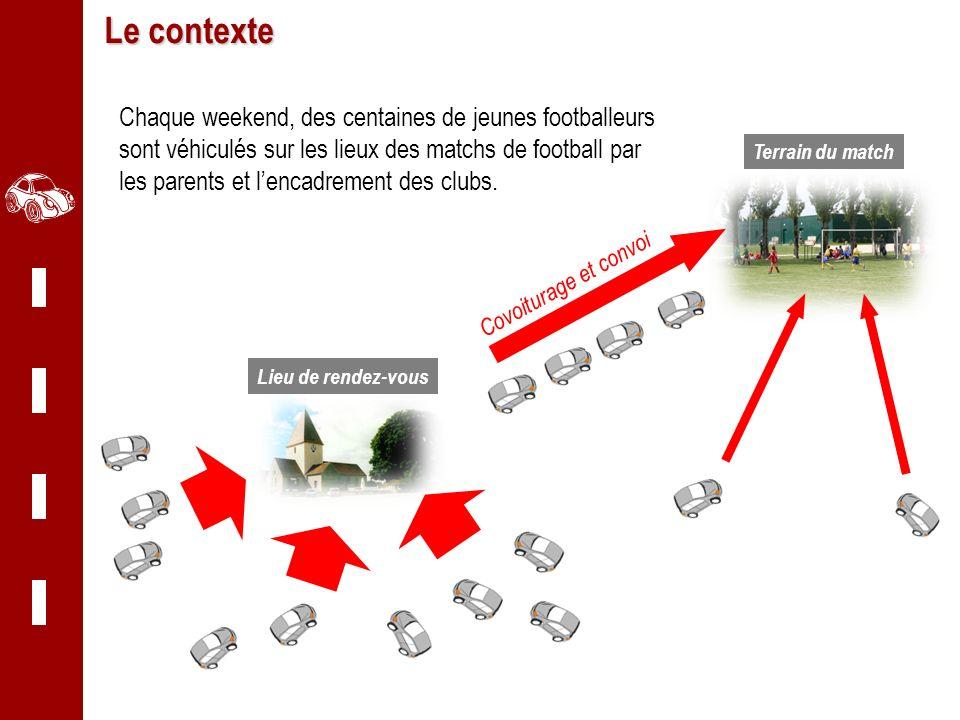 Centaure Grand Est Le contexte Chaque weekend, des centaines de jeunes footballeurs sont véhiculés sur les lieux des matchs de football par les parent