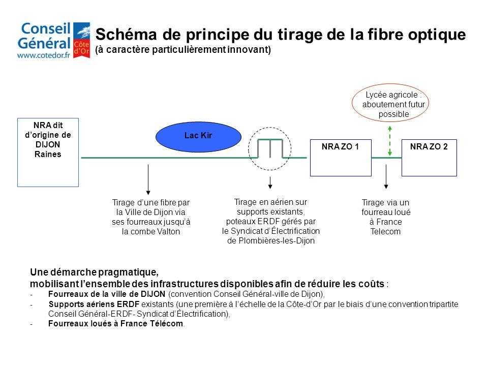 NRA dit dorigine de DIJON Raines NRA ZO 2NRA ZO 1 Lac Kir Tirage via un fourreau loué à France Telecom Tirage dune fibre par la Ville de Dijon via ses