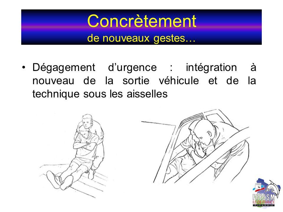 Concrètement de nouveaux gestes… Dégagement durgence : intégration à nouveau de la sortie véhicule et de la technique sous les aisselles
