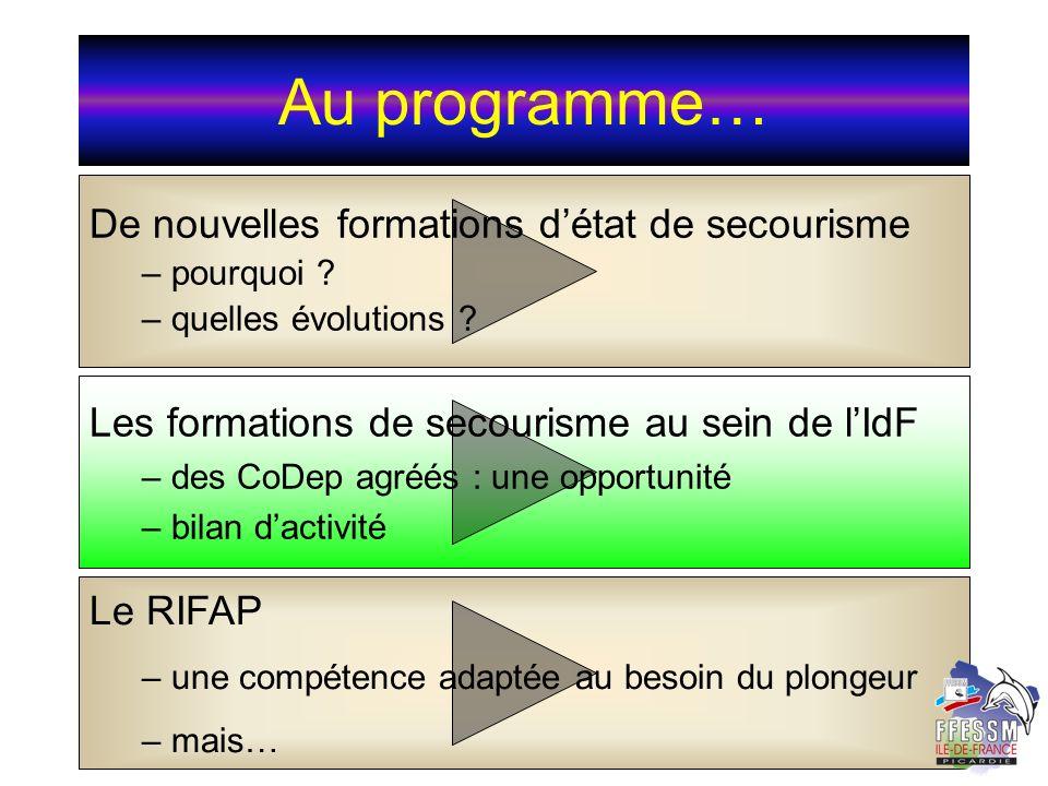 Au programme… De nouvelles formations détat de secourisme – pourquoi ? pourquoi ? – quelles évolutions ? quelles évolutions ? Les formations de secour