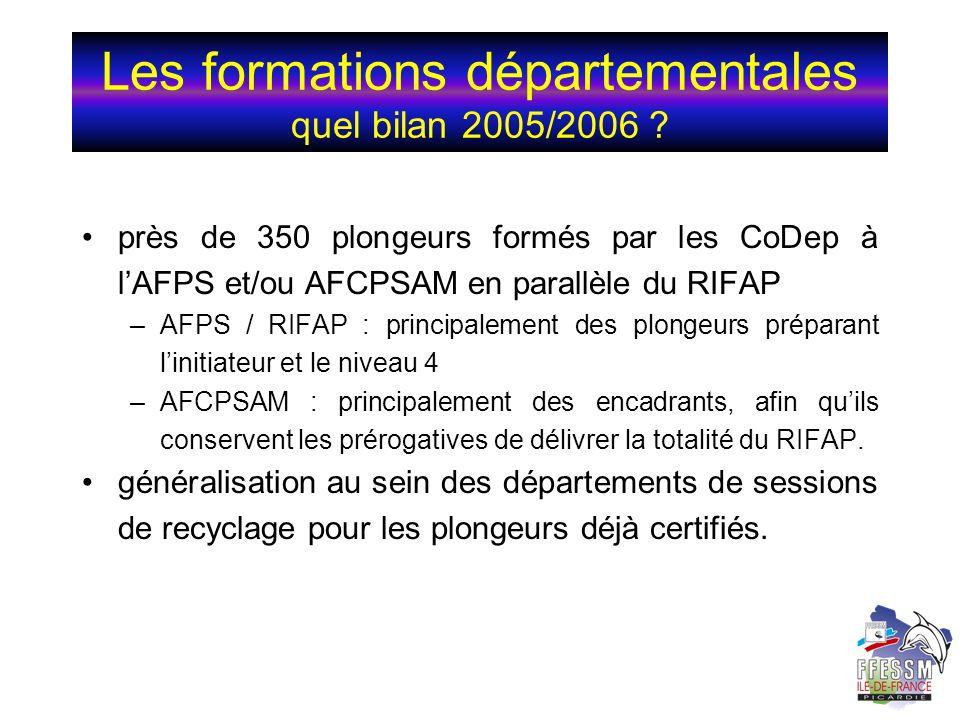 Les formations départementales quel bilan 2005/2006 ? près de 350 plongeurs formés par les CoDep à lAFPS et/ou AFCPSAM en parallèle du RIFAP –AFPS / R