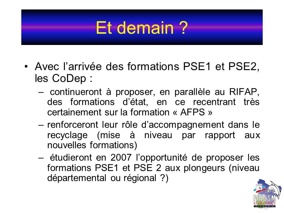 Et demain ? Avec larrivée des formations PSE1 et PSE2, les CoDep : – continueront à proposer, en parallèle au RIFAP, des formations détat, en ce recen