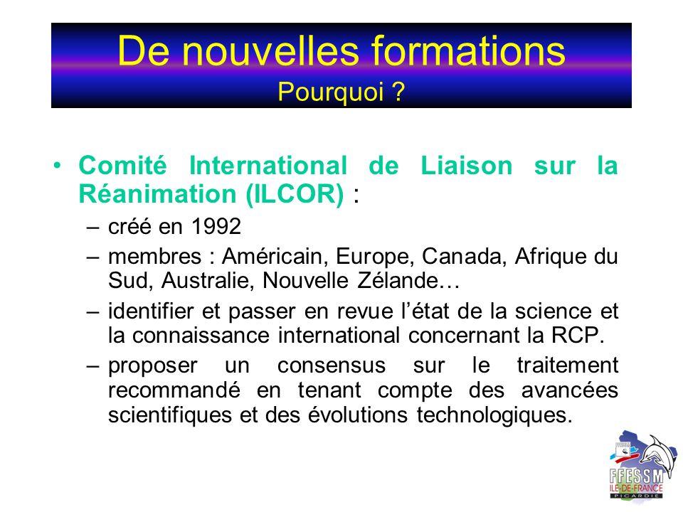 De nouvelles formations Pourquoi ? Comité International de Liaison sur la Réanimation (ILCOR) : –créé en 1992 –membres : Américain, Europe, Canada, Af