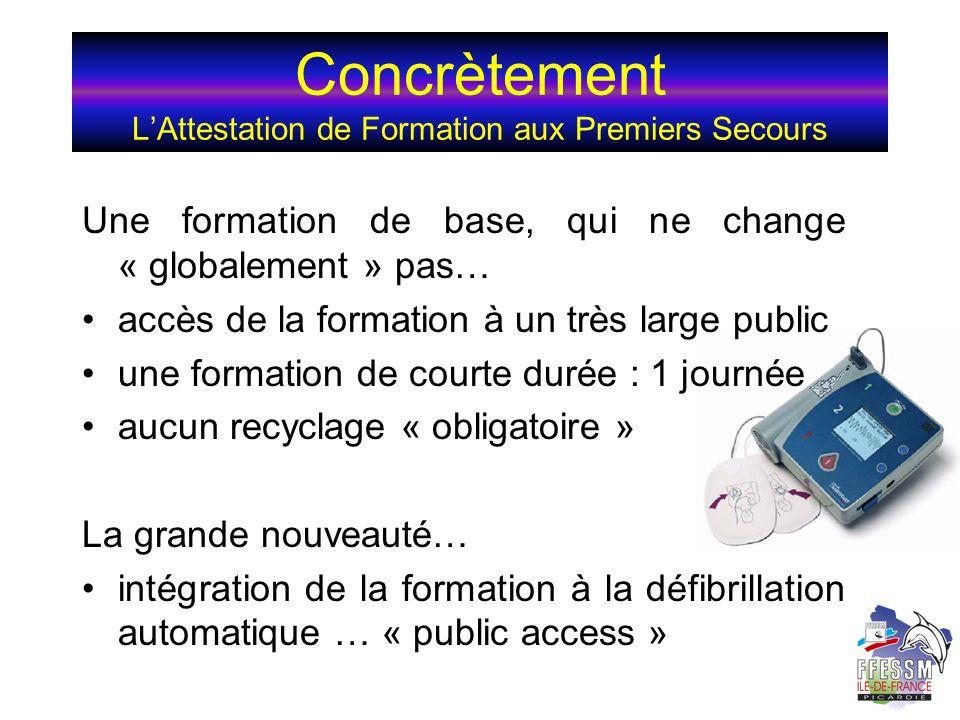 Concrètement LAttestation de Formation aux Premiers Secours Une formation de base, qui ne change « globalement » pas… accès de la formation à un très