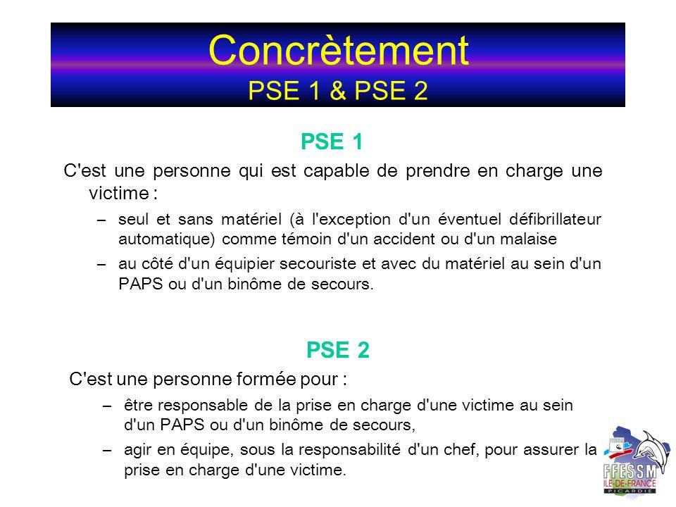 Concrètement PSE 1 & PSE 2 PSE 1 C'est une personne qui est capable de prendre en charge une victime : –seul et sans matériel (à l'exception d'un éven