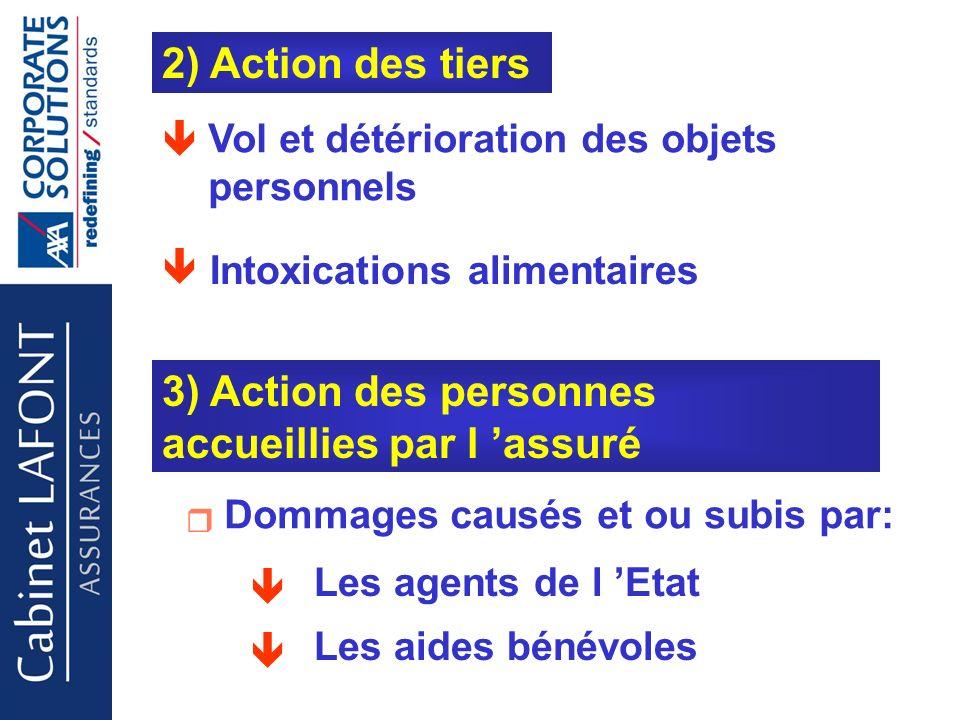 2) Action des tiers 3) Action des personnes accueillies par l assuré Vol et détérioration des objets personnels Intoxications alimentaires Dommages causés et ou subis par: Les agents de l Etat Les aides bénévoles Cabinet LAFONT