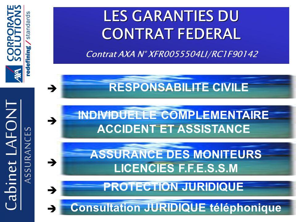 LES GARANTIES DU CONTRAT FEDERAL Contrat AXA N° XFR0055504LI/RC1F90142 RESPONSABILITE CIVILE INDIVIDUELLE COMPLEMENTAIRE ACCIDENT ET ASSISTANCE ASSURANCE DES MONITEURS LICENCIES F.F.E.S.S.M PROTECTION JURIDIQUE Consultation JURIDIQUE téléphonique