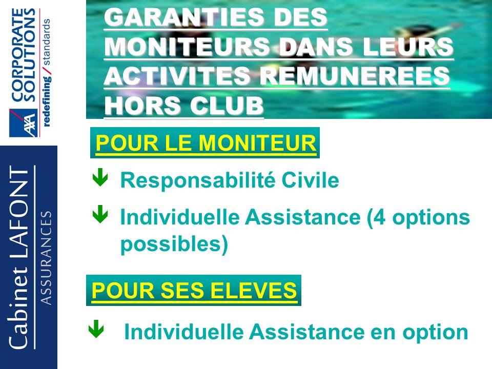 Cabinet LAFONT POUR LE MONITEUR Responsabilité Civile Individuelle Assistance (4 options possibles) POUR SES ELEVES Individuelle Assistance en option GARANTIES DES MONITEURS DANS LEURS ACTIVITES REMUNEREES HORS CLUB