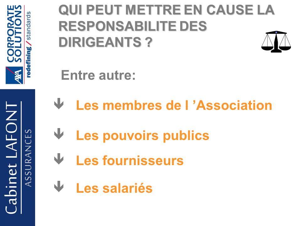Cabinet LAFONT QUI PEUT METTRE EN CAUSE LA RESPONSABILITE DES DIRIGEANTS .