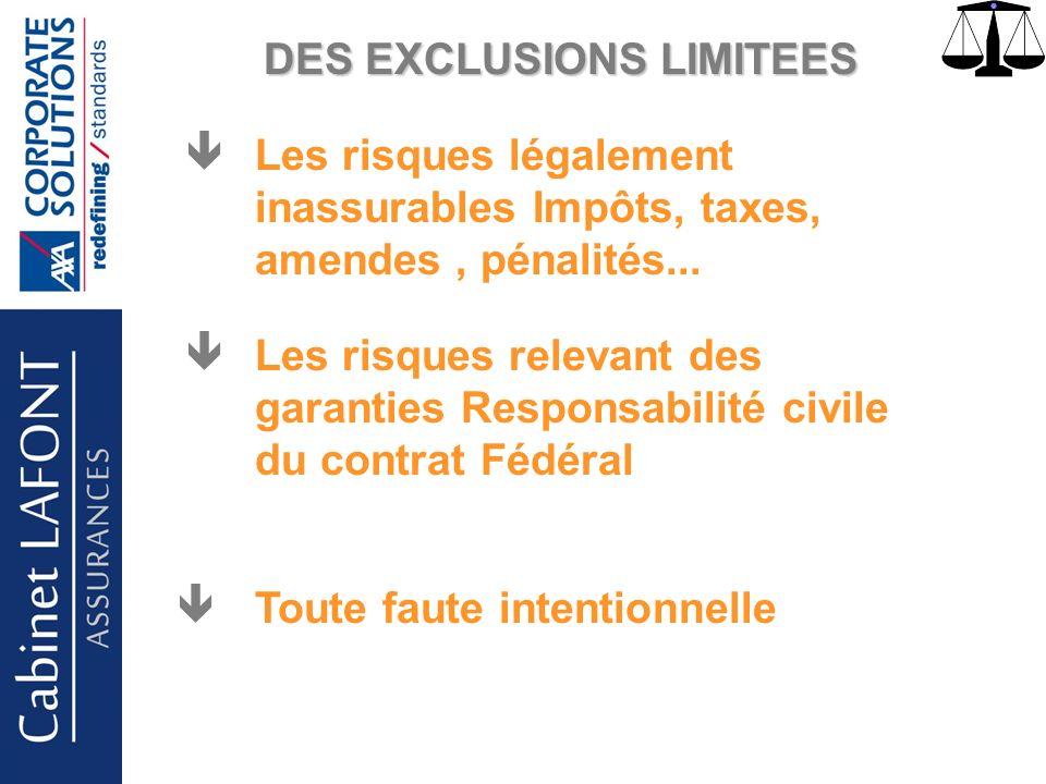 Cabinet LAFONT DES EXCLUSIONS LIMITEES Les risques légalement inassurables Impôts, taxes, amendes, pénalités... Les risques relevant des garanties Res