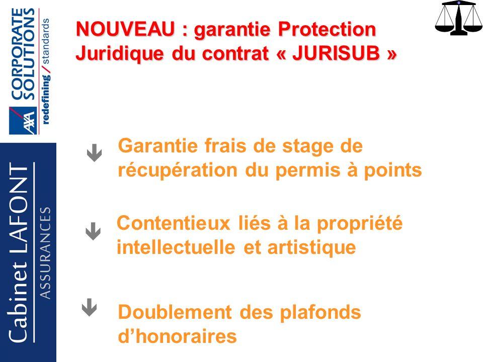 Cabinet LAFONT NOUVEAU : garantie Protection Juridique du contrat « JURISUB » Garantie frais de stage de récupération du permis à points Contentieux liés à la propriété intellectuelle et artistique Doublement des plafonds dhonoraires