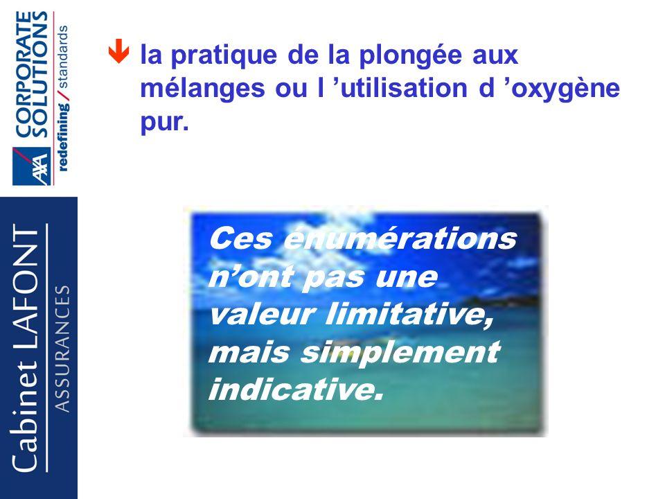 Cabinet LAFONT la pratique de la plongée aux mélanges ou l utilisation d oxygène pur.
