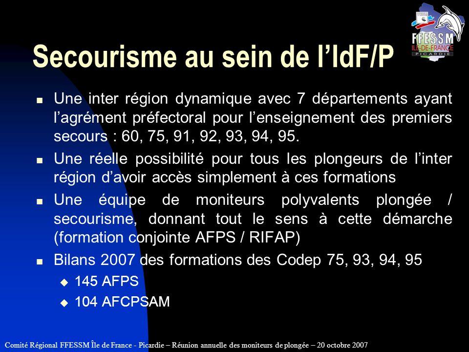 Comité Régional FFESSM Île de France - Picardie – Réunion annuelle des moniteurs de plongée – 20 octobre 2007 Secourisme au sein de lIdF/P Une inter r