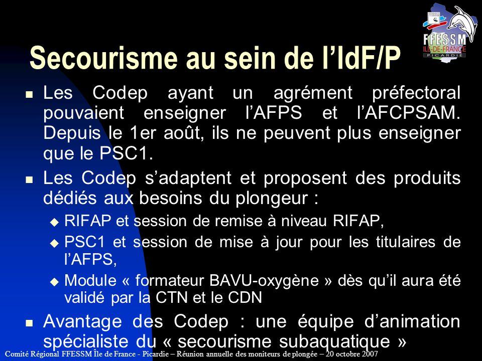 Comité Régional FFESSM Île de France - Picardie – Réunion annuelle des moniteurs de plongée – 20 octobre 2007 Secourisme au sein de lIdF/P Les Codep a