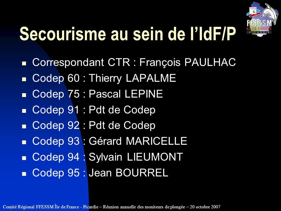 Comité Régional FFESSM Île de France - Picardie – Réunion annuelle des moniteurs de plongée – 20 octobre 2007 Secourisme au sein de lIdF/P Corresponda