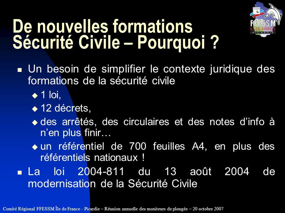 Comité Régional FFESSM Île de France - Picardie – Réunion annuelle des moniteurs de plongée – 20 octobre 2007 De nouvelles formations Sécurité Civile