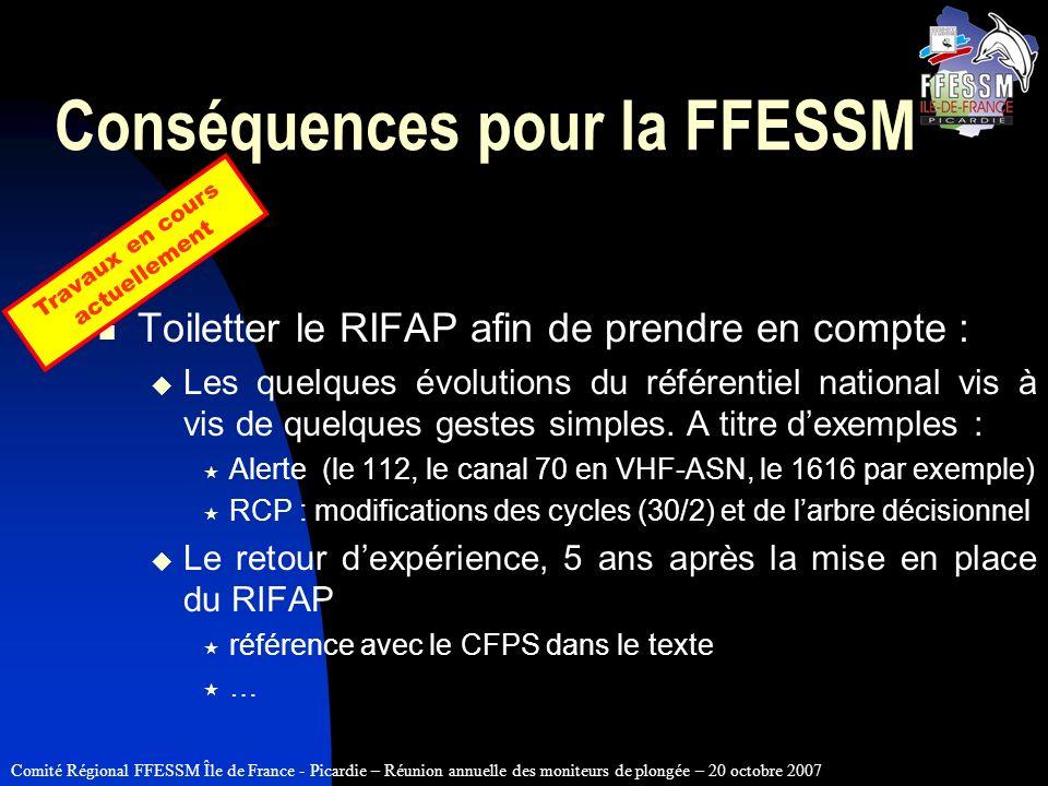 Comité Régional FFESSM Île de France - Picardie – Réunion annuelle des moniteurs de plongée – 20 octobre 2007 Conséquences pour la FFESSM Toiletter le