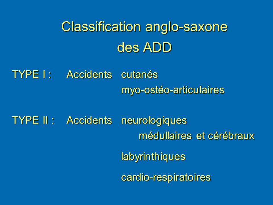 Classification anglo-saxone des ADD TYPE I :Accidentscutanés myo-ostéo-articulaires TYPE II :Accidents neurologiques médullaires et cérébraux médullai