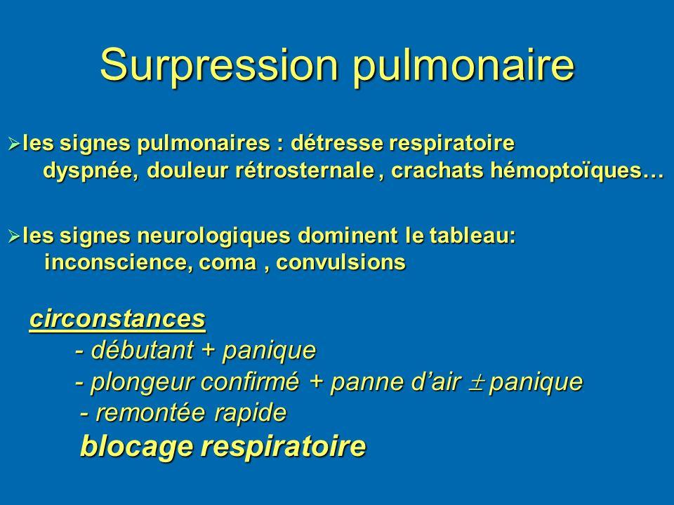 Surpression pulmonaire les signes pulmonaires : détresse respiratoire les signes pulmonaires : détresse respiratoire dyspnée, douleur rétrosternale, c