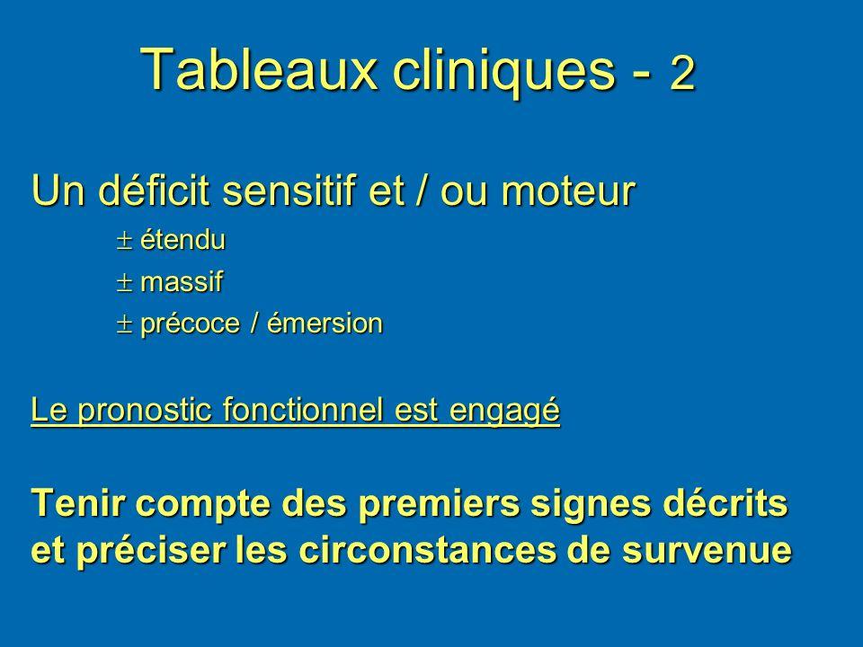 Tableaux cliniques - 2 Un déficit sensitif et / ou moteur étendu étendu massif massif précoce / émersion précoce / émersion Le pronostic fonctionnel e