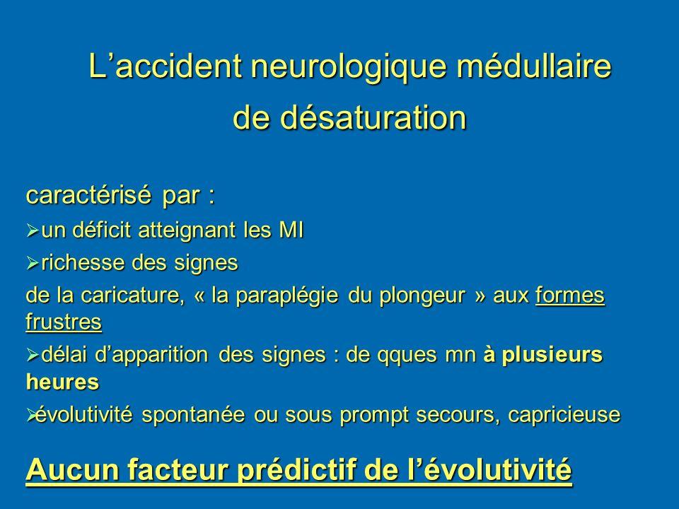 Laccident neurologique médullaire de désaturation caractérisé par : un déficit atteignant les MI un déficit atteignant les MI richesse des signes rich