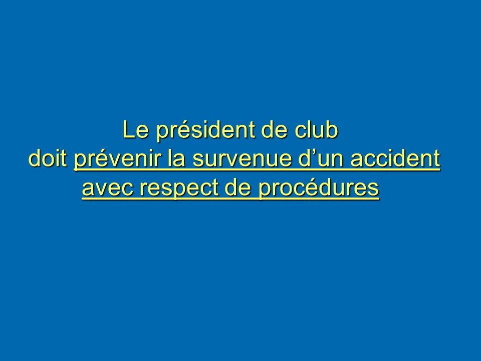 Le président de club doit prévenir la survenue dun accident avec respect de procédures Le président de club doit prévenir la survenue dun accident ave
