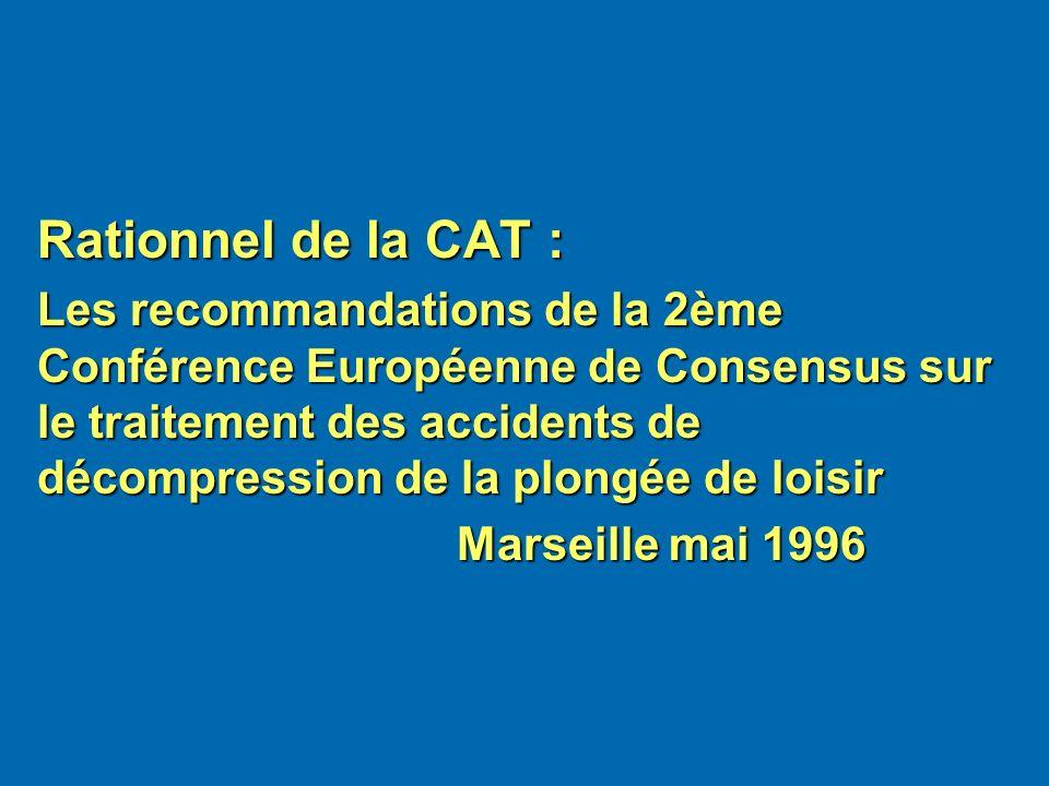 Rationnel de la CAT : Les recommandations de la 2ème Conférence Européenne de Consensus sur le traitement des accidents de décompression de la plongée