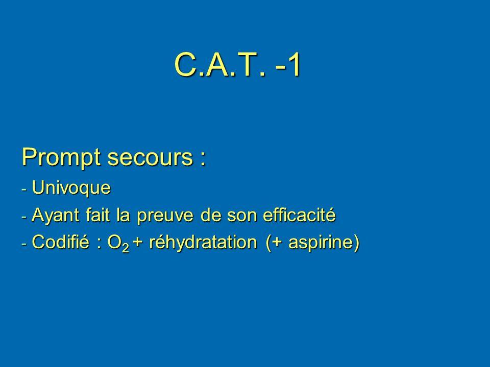 C.A.T. -1 Prompt secours : - Univoque - Ayant fait la preuve de son efficacité - Codifié : O 2 + réhydratation (+ aspirine)