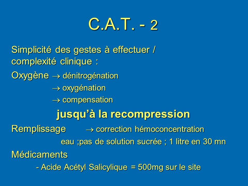 C.A.T. - 2 Simplicité des gestes à effectuer / complexité clinique : Oxygène dénitrogénation oxygénation oxygénation compensation compensation jusquà