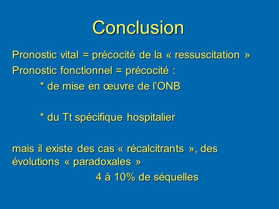 Conclusion Pronostic vital = précocité de la « ressuscitation » Pronostic fonctionnel = précocité : * de mise en œuvre de lONB * du Tt spécifique hosp