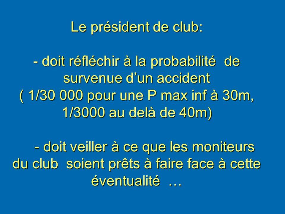 Le président de club: - doit réfléchir à la probabilité de survenue dun accident ( 1/30 000 pour une P max inf à 30m, 1/3000 au delà de 40m) - doit ve
