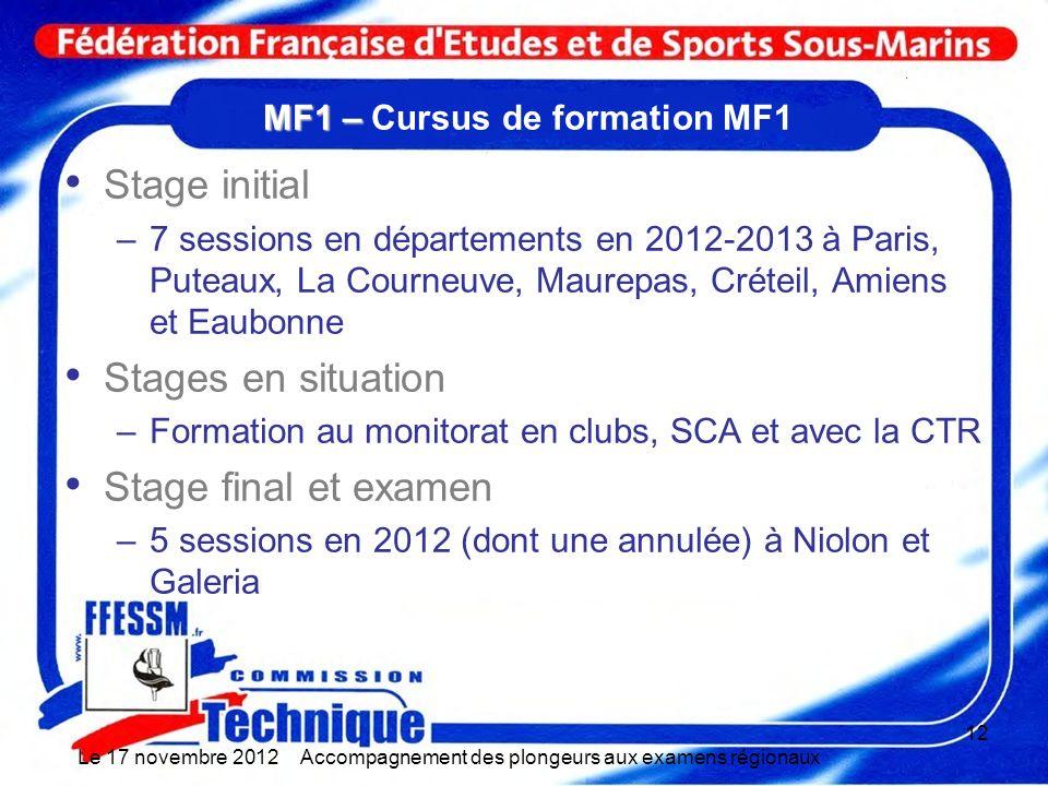 MF1 – MF1 – Cursus de formation MF1 Stage initial –7 sessions en départements en 2012-2013 à Paris, Puteaux, La Courneuve, Maurepas, Créteil, Amiens e