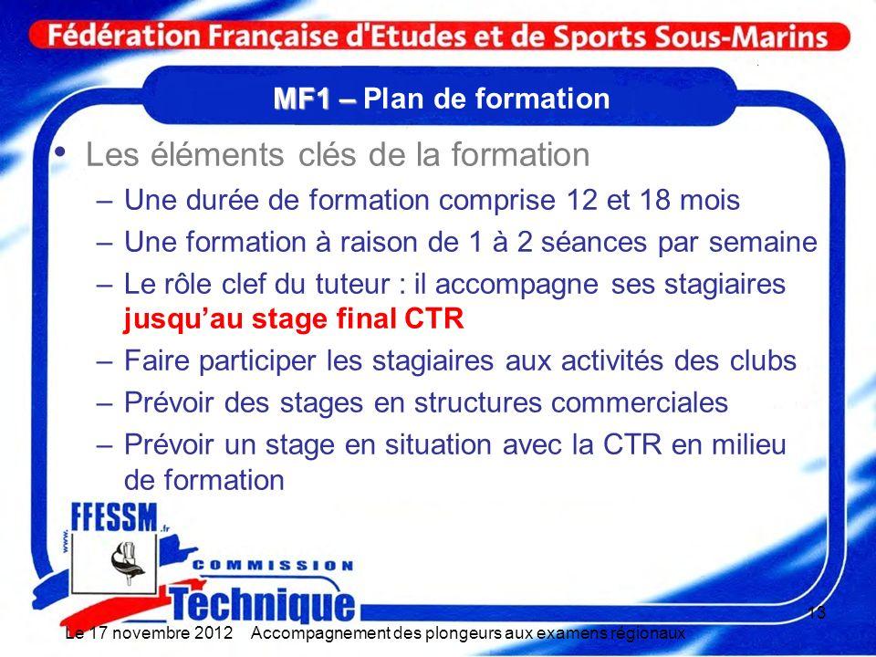 MF1 – MF1 – Plan de formation Les éléments clés de la formation –Une durée de formation comprise 12 et 18 mois –Une formation à raison de 1 à 2 séance