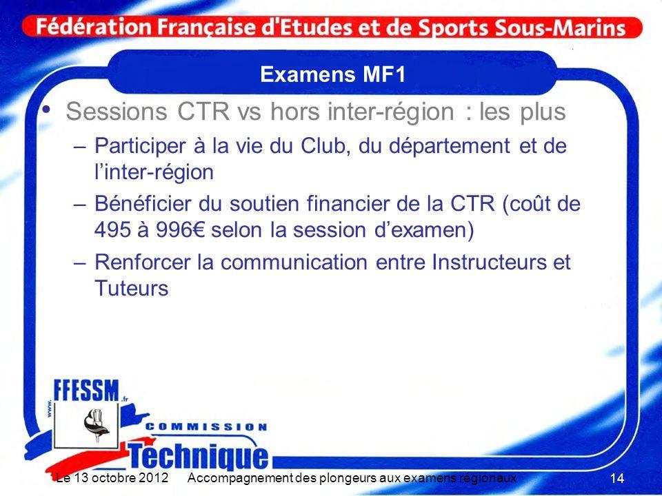 Examens MF1 Sessions CTR vs hors inter-région : les plus –Participer à la vie du Club, du département et de linter-région –Bénéficier du soutien finan