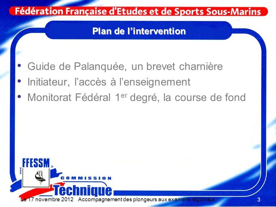 Plan de lintervention Guide de Palanquée, un brevet charnière Initiateur, laccès à lenseignement Monitorat Fédéral 1 er degré, la course de fond Le 17