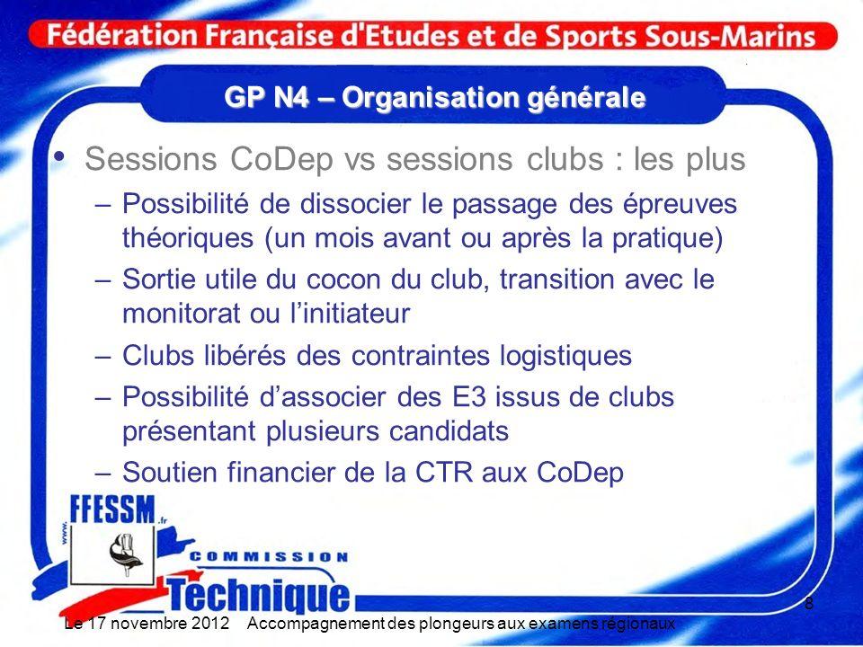 GP N4 – Organisation générale Sessions CoDep vs sessions clubs : les plus –Possibilité de dissocier le passage des épreuves théoriques (un mois avant