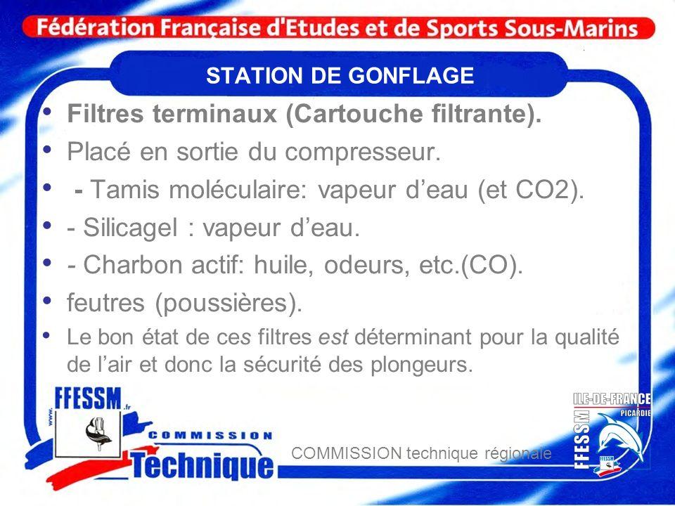 COMMISSION technique régionale STATION DE GONFLAGE Filtres terminaux (Cartouche filtrante). Placé en sortie du compresseur. - Tamis moléculaire: vapeu