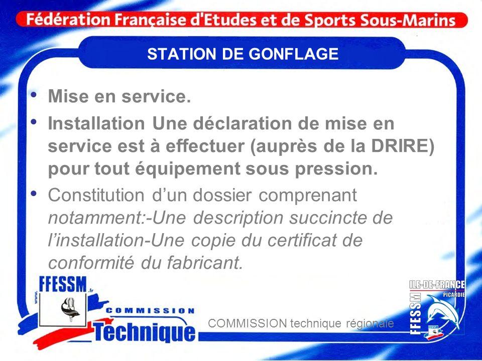 COMMISSION technique régionale STATION DE GONFLAGE Mise en service. Installation Une déclaration de mise en service est à effectuer (auprès de la DRIR