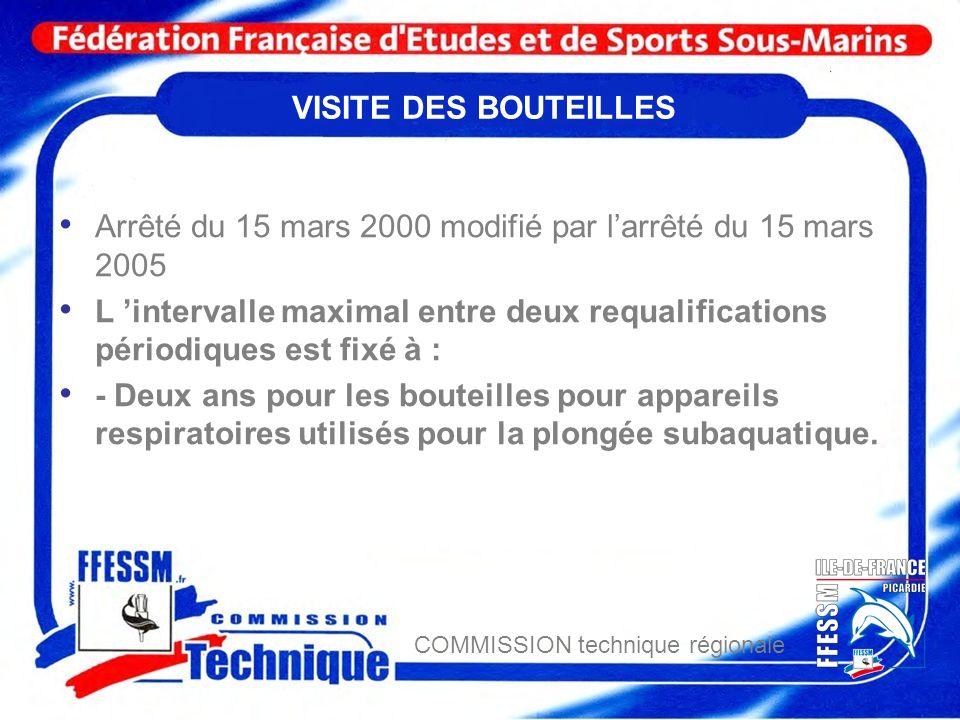 COMMISSION technique régionale VISITE DES BOUTEILLES Arrêté du 15 mars 2000 modifié par larrêté du 15 mars 2005 L intervalle maximal entre deux requal