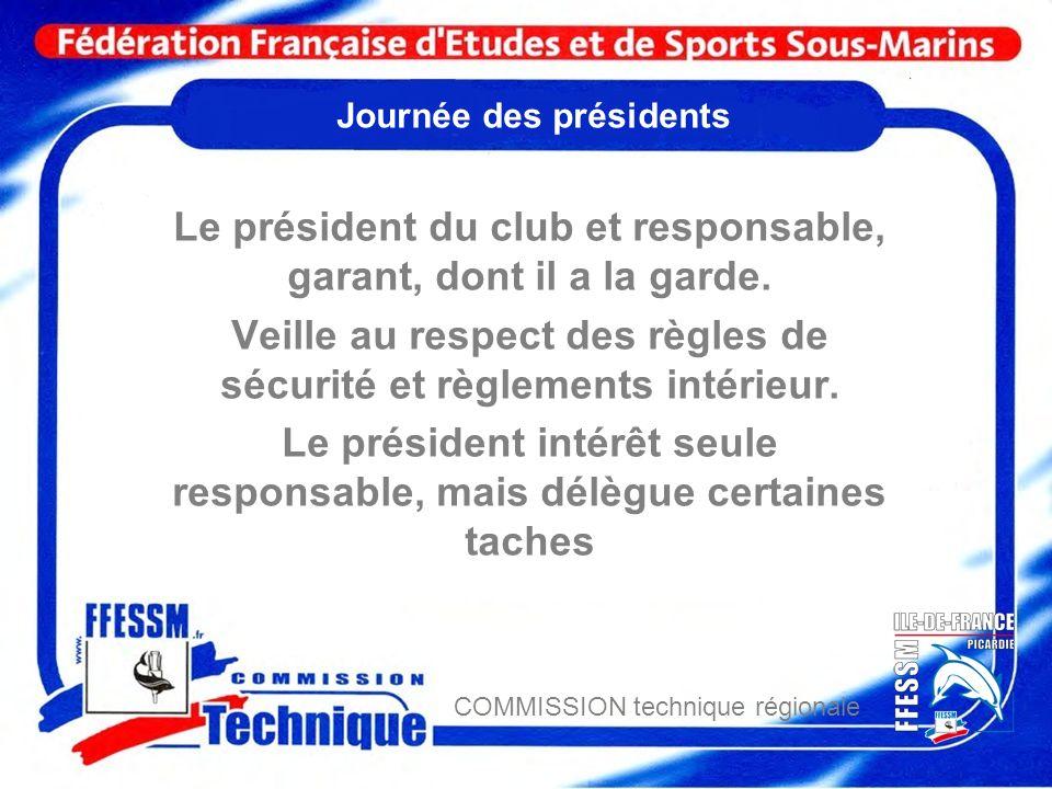 COMMISSION technique régionale Journée des présidents Le président du club et responsable, garant, dont il a la garde. Veille au respect des règles de
