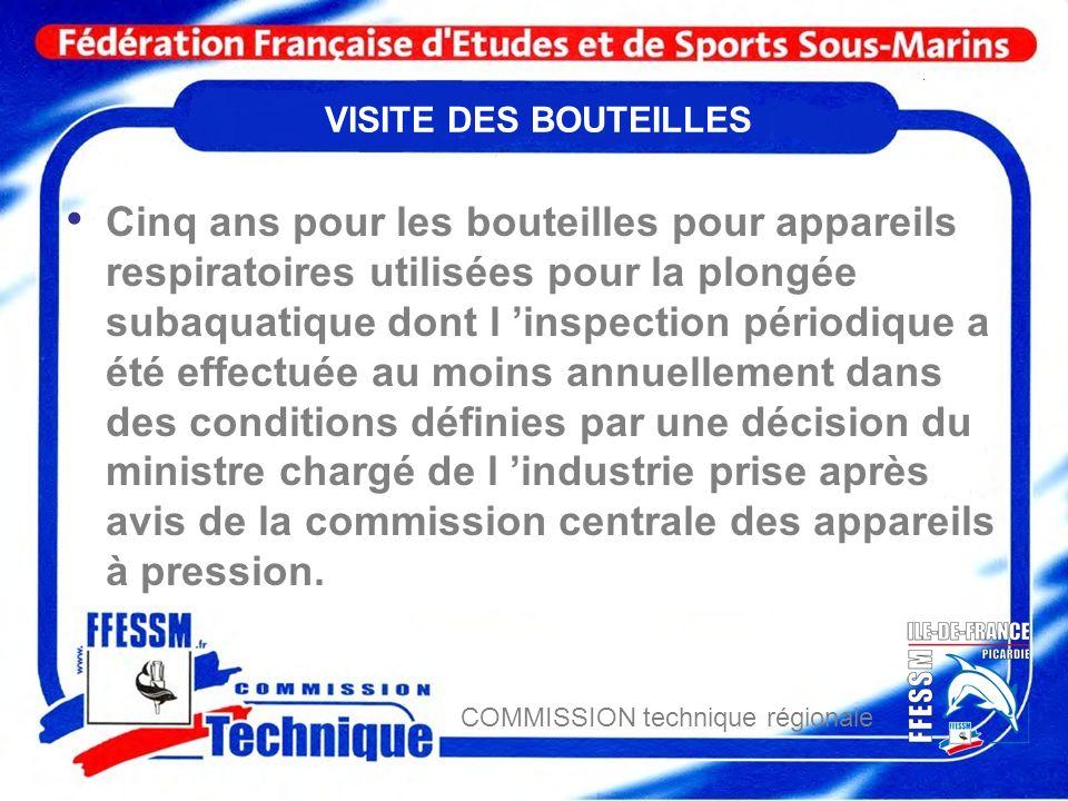 COMMISSION technique régionale Transports des bouteilles Transports de bouteille de plongée .