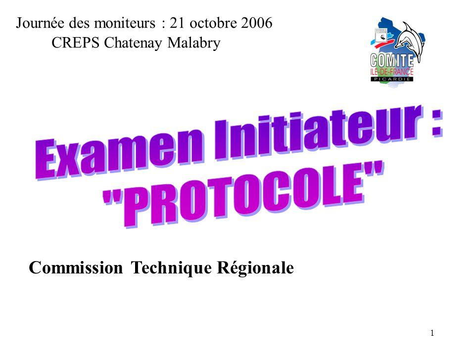 1 Journée des moniteurs : 21 octobre 2006 Commission Technique Régionale CREPS Chatenay Malabry