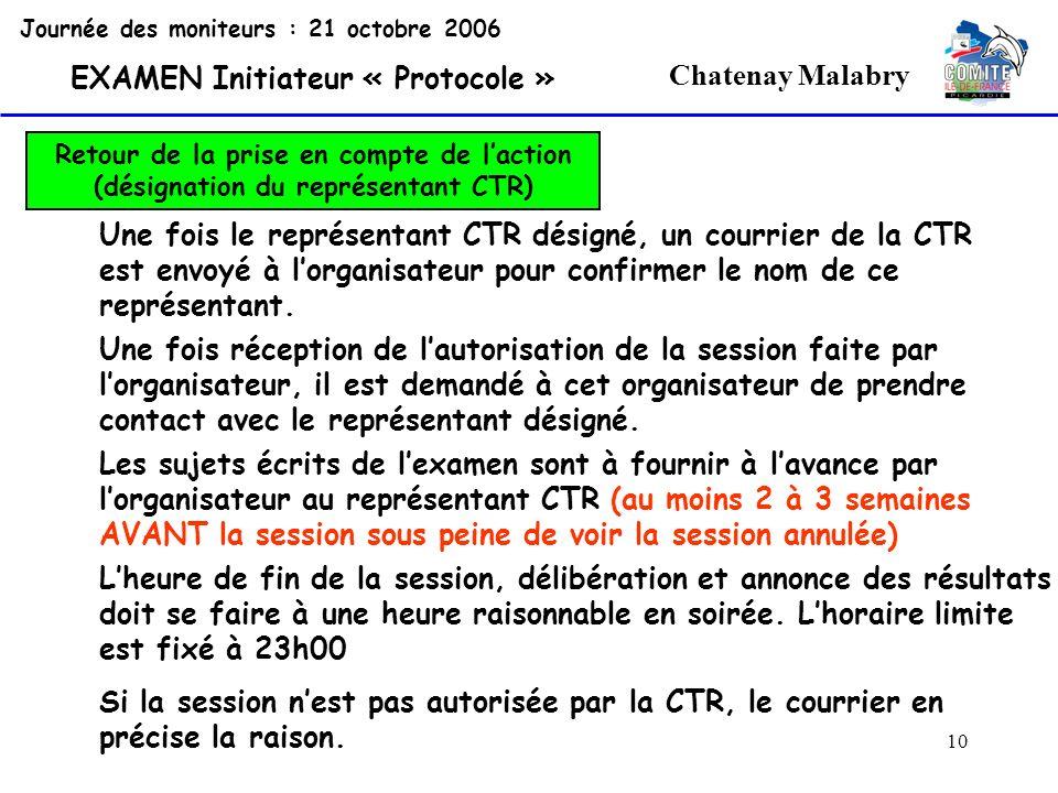 10 Chatenay Malabry Journée des moniteurs : 21 octobre 2006 EXAMEN Initiateur « Protocole » Retour de la prise en compte de laction (désignation du re