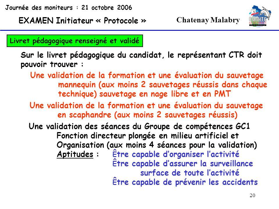 20 Chatenay Malabry Journée des moniteurs : 21 octobre 2006 EXAMEN Initiateur « Protocole » Livret pédagogique renseigné et validé Sur le livret pédag